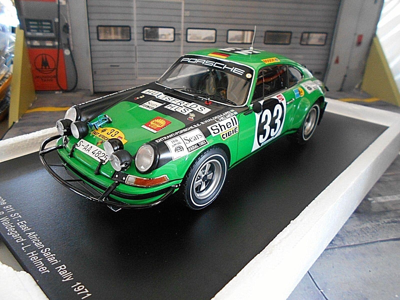 Porsche 911 S ST Rally Safari 1971 Waldegaard Shell Spark Resin Highe 1 18