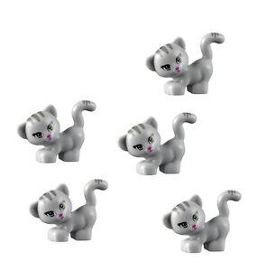 Lego 5 Pcs New Friends Grey Cat Pet Kitten Animal Minifigure 41101