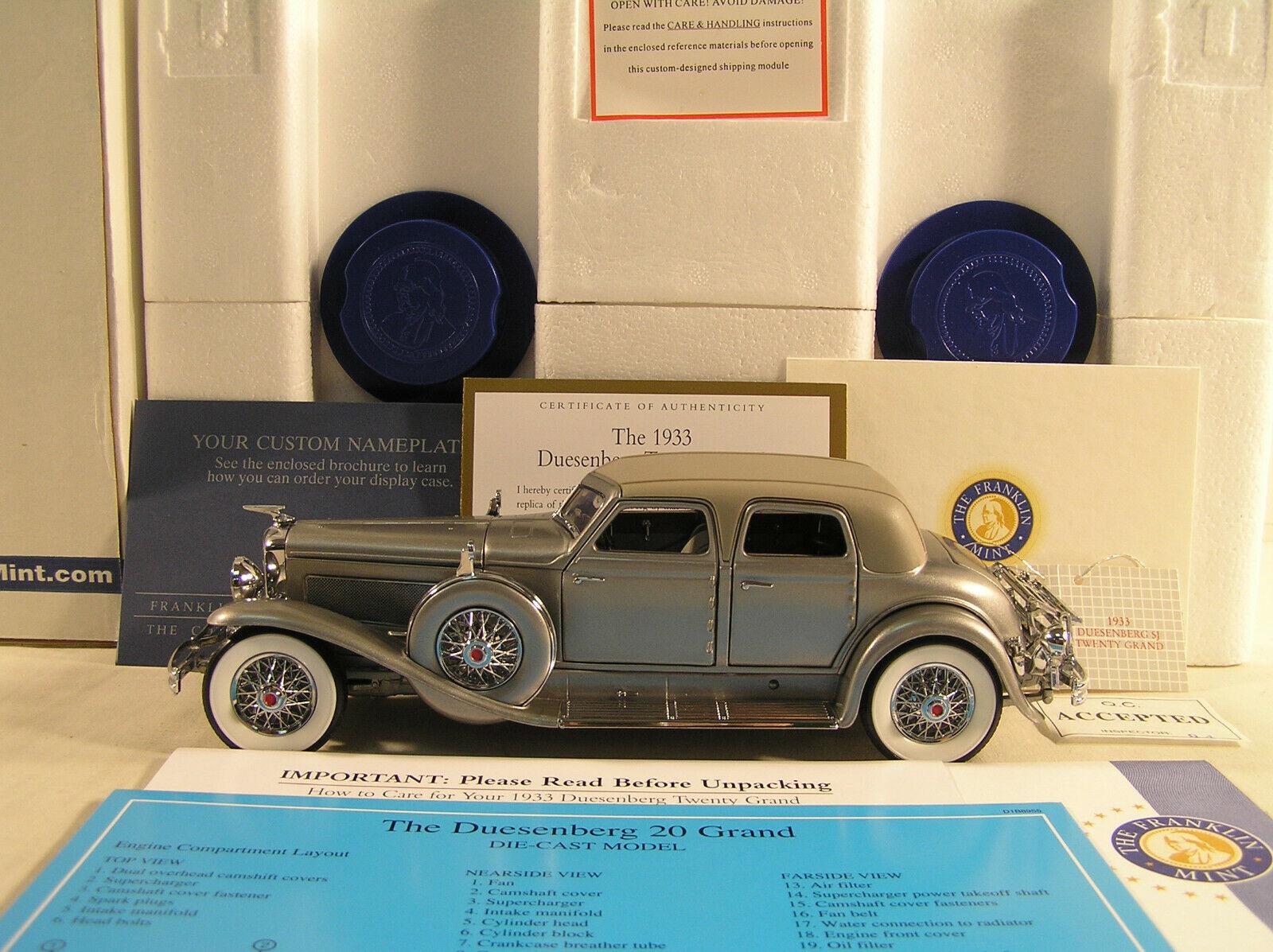 1933 Duesenburg SJ vingt mille par Franklin Comme neuf, B11PW73, menthe avec tous les papiers