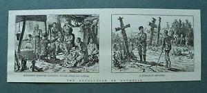 L1a) Holzstich Revolution Rumelien Roumelia 1885 Bulgarien Infanterie 26x10cm