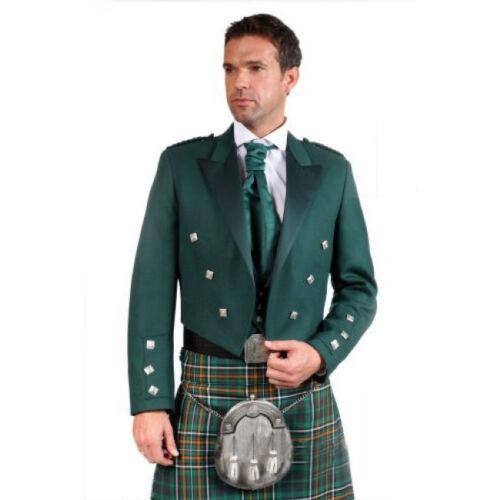 "Green Irish Prince Charlie Kilt Jacket with Waistcoat//Vest 54/"" Sizes 36/"""