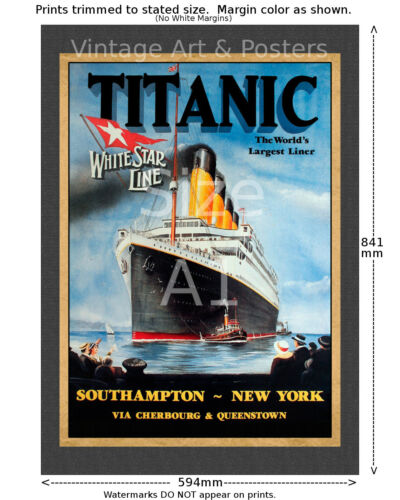6 sizes matte+glossy avail Titanic White Star Line Sailing Notice Travel Poster