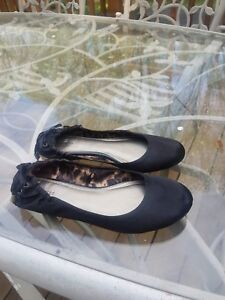 b9cceed6262 Details about Black satin flats / ballet slippers w/ lace-up heel women's  size 9 by Express