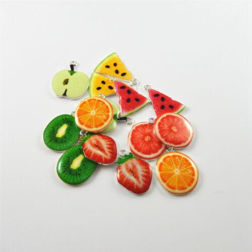 Paquete De 10 piezas de fruta de varios colores encantos colgante hallazgos Joyería Hágalo usted mismo