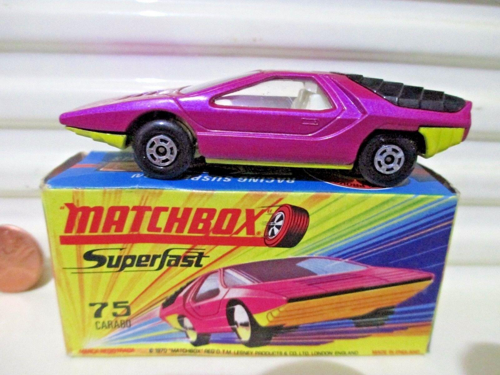 Lesney Matchbox MB75B Lite Purple 1970 ALFA CARABO Car Mint in Near Mint Box
