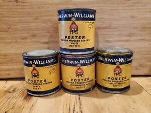 Vtg-Sherwin-Williams-Advertising-Cans-Lot-Of-4-POSTER-Screen-Process-Colors