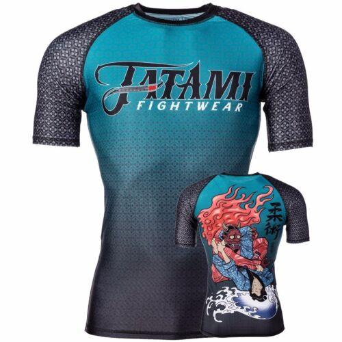 Tatami Devils Triangle BJJ Rash Guard Short Sleeve MMA Compression Top Gym Mens