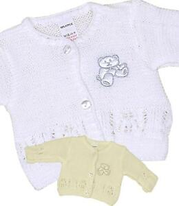 60ff4dff5 BabyPrem Baby Clothes White Cream Knitted Cardigan Premature Preemie ...