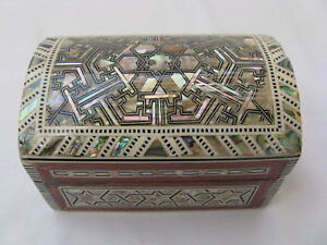 """Egyptian Mother of Pearl White Shell Jewelry Box Handmade 3/"""" #0000"""