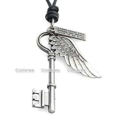 Antique Vintage Angel Wing Key Tag Mens Genuine Leather Necklace Charms Pendant