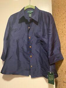 NEW-Lauren-by-Ralph-Lauren-NEW-Dark-Blue-Size-4P-Silk-Button-Down-Shirt