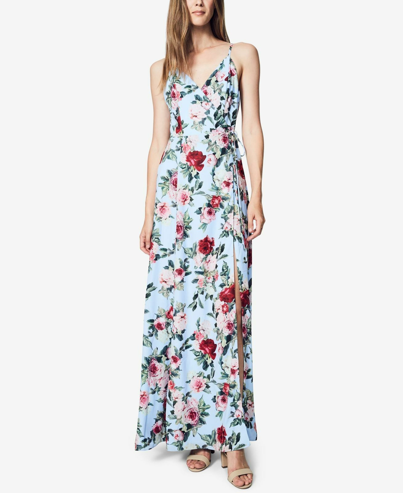 NEW  FAME AND PARTNERS damen Blau FLORAL-PRINTED MAXI GOWN DRESS Größe 4