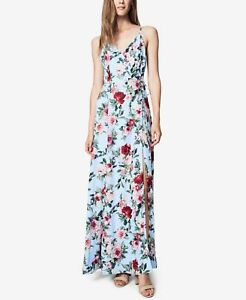 Fame And Partners Womens Devon Blue Printed Evening Dress Gown 0 BHFO 1281