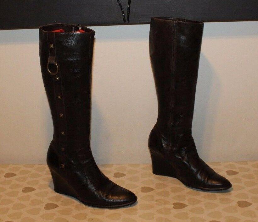 Braun Leder IS Zip Studs Mid Calf Wedge High Heel / Casual Stiefel Größe 5 / Heel 38 7c1d72