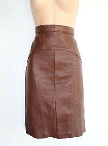 Women-039-s-Vintage-GAPELLE-High-Waist-Pencil-Brown-100-Leather-Skirt-Size-UK8