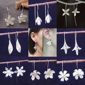 Fashion-Silver-Flower-Pearl-Drop-Dangle-Earrings-Women-Long-Ear-Hook-Jewellery