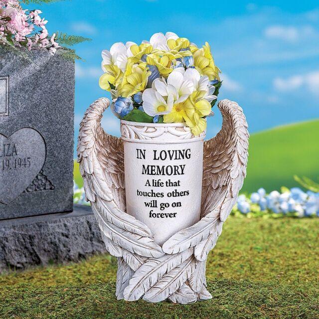 Memorial Angel Wings Prayer Flower Vase Stake In Loving Memory Grave
