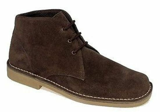 Roamers Mens M378 Dark Brown Suede New Mens Desert Boots Shoes
