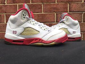 check out eeae8 3fbaf Details about 2011 Nike Air Jordan V 5 Retro White Legacy Red Scarlet Fire  6Y Bape Supreme DMP