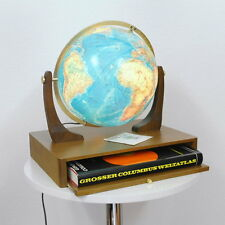 Columbus Duo Globus Leuchtglobus 30 cm mit Weltatlas auf Nussbaum Sockel 70er J.