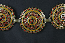 "Chicos Chain Belt 23-40"" M L Brass Metal Yellow Red Enamel Filigree Medallions"