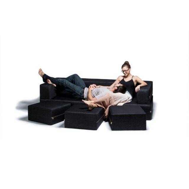 Jaxx Zipline Denim Convertible Sleeper Sofa and Ottomans Black