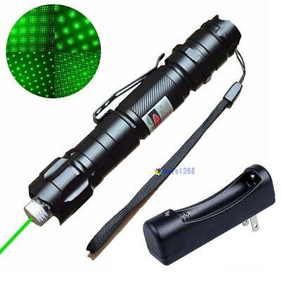 5 Miles 532nm Green Laser Pointer Pen Visible Beam Star Cap + 18650 Charger MT