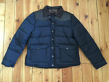 RIVER ISLAND MENS NAVY BLUE/BROWN PADDED JACKET - XL