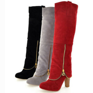 cb2427f15f9 Womens Over The Knee Boots Sexy Block Heel Suede Thigh High Party ...