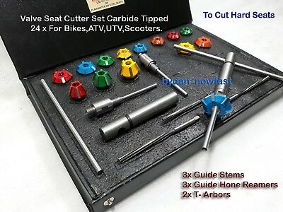 24x VALVE SEAT CUTTER KIT CARBIDE TIPPED WITH 3 STEMS 3 REMR+2 DRV ARBOURS