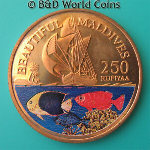 1996-MALDIVE-ISLANDS-250-RUFIYAA-COPPER-PROOF-REEDED-EDGE-MALDIVES-COLORED-FISH