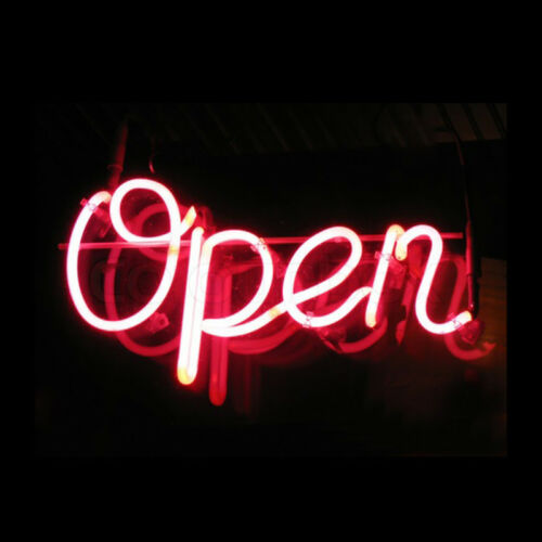 "12""x8""OPEN Neon Sign Light Beer Bar Pub Shop Wall Display Handcraft Real Glass"
