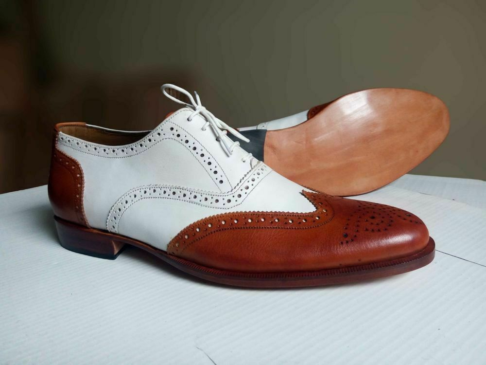 Handmade Two Tone White & Tan Leather Oxford Wingtip Wingtip Wingtip Leather shoes a1d8ee