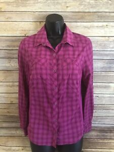 REI-Snap-Button-Plaid-Shirt-Womens-Size-Small-Fishing-Pink-Long-Sleeve-Top-Hike