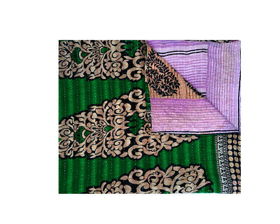 Cotton Sari Reversible Vintage Kantha Quilts Indian Traditional Artisan Bohemain Multi Color Twin Size Floral  Throw Ethnic One of Kind  41