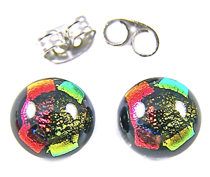 Tiny-DICHROIC-Post-EARRINGS-1-4-034-10mm-Orange-Copper-Gold-Dicro-Fused-GLASS-STUDS