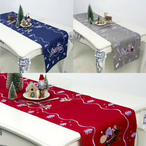 Embroidery-Table-Runner-Christmas-Dining-Table-Cloth-Mat-Home-Party-Floral-Decor