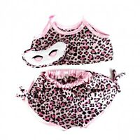 "Pink satin leopard print pjs & eyemask outfit clothes fits 15"" Build a Bear"