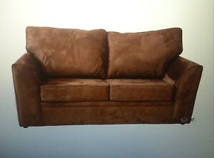Image Is Loading Living Room Set Brown Suede Sofas 2 Piece