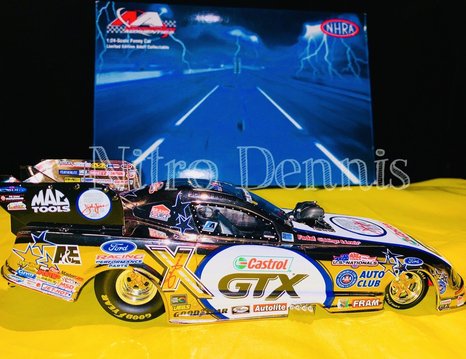 NHRA JOHN FORCE 1 24 Diecast US Nationals NITRO Funny Car MUSTANG Chrome SIGNED