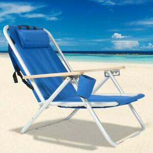 New-Backpack-Beach-Chair-Folding-Portable-Chair-Blue-Solid-Construction-Camping