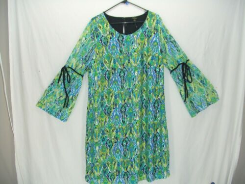 Cupio 2X CUTE Lime Teal Blue Multi Stretch Lace Bell Sleeve Shift Dress~NWOT~x