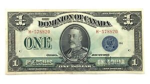 1923-One-1-Dollar-Dominion-Of-Canada-Prefix-H-Canadian-Banknote-L054