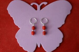 Beautiful Silver Loop Earrings With Red Agate 3.8 Gr 4 Cm Long