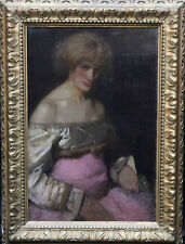 JAMES ABBOT MCNEIL WHISTLER circle  BRITISH VICTORIAN OIL PAINTING ART LADY PINK