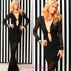 Abito-lungo-donna-vestito-sirena-aderente-pizzo-trasparente-nuovo-DL-1297