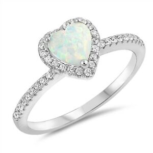 Light Blue Opal Heart /& Cubic Zirconia .925 Sterling Silver Ring Sizes 5-10