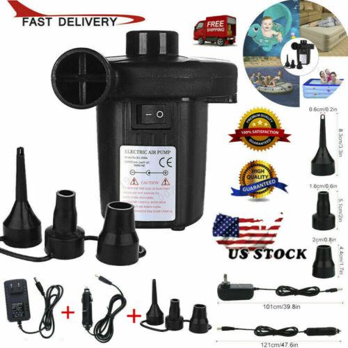 Electric Air Pump Portable Quick Fill AC DC Inflator Deflator For Mattress Infla