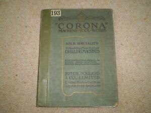 Vintage 1923 POLLARD CORONA DRILLING MACHINE Catalogue Leicester