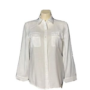 Chicos 2 Large Shirt White Pocket Camp Button Down Long Sl Roll Tab Washable LN